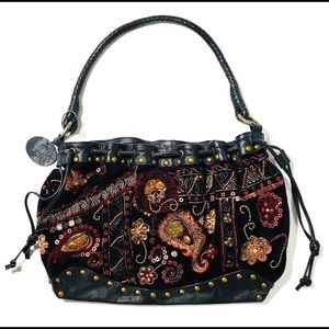 Chicos Large Beaded Purse Leather Velvet Black